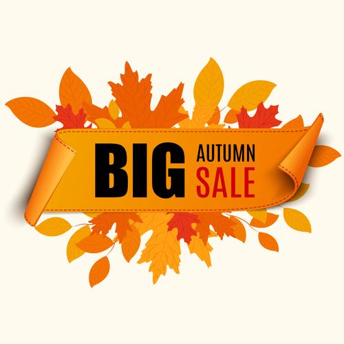 Autumn leaves banner big sale vector