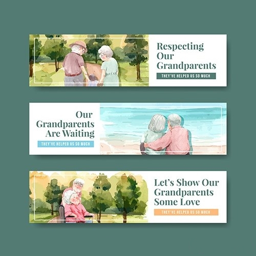 Banner Template with National Grandparents Day vector