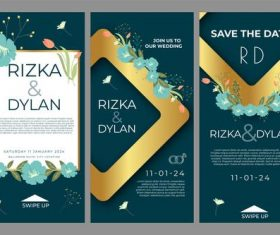 Banner art wedding posts vector