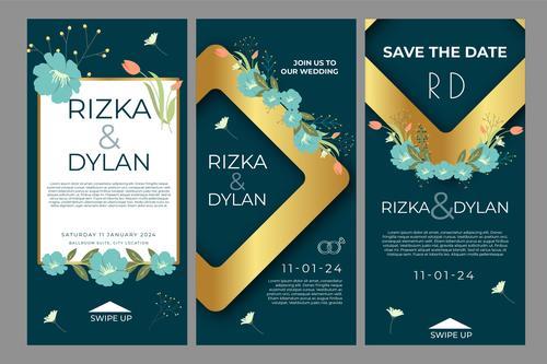 Banner art wedding posts vector
