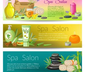 Banner spa salon set vector