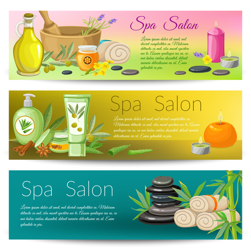 Banner spa salon set vector