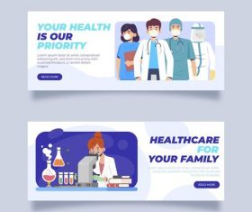 Banner thank doctor and nurse cartoon vector