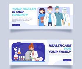 Banner thank doctor and nurse cartoon vector