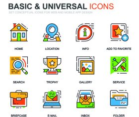 Basic universal icons set vector