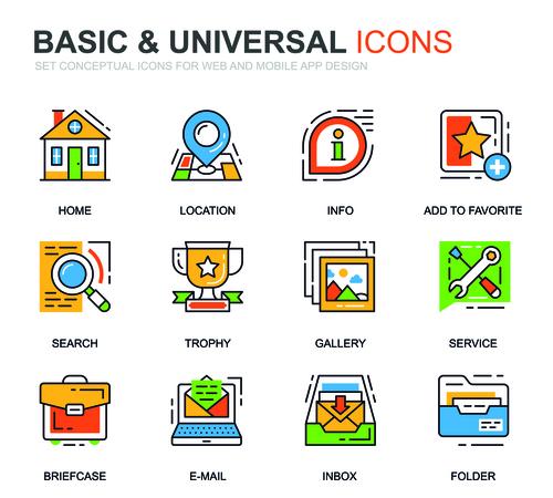 Basic universal icons set vector