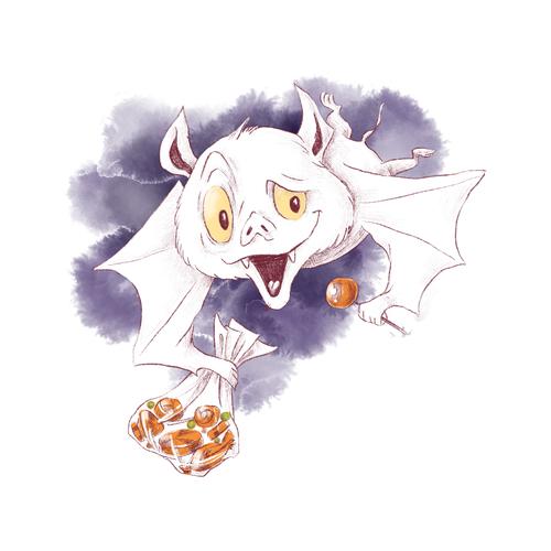 Bat halloween watercolor illustration vector