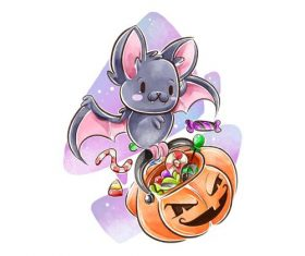 Bat halloween watercolor illustration vector
