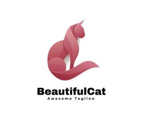 Beautiful cat icon vector