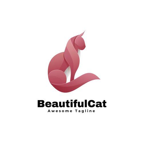 Beautiful cat icon vector