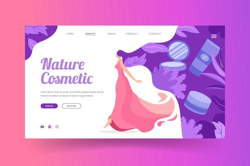 Beautiful woman cosmetics landing page vector