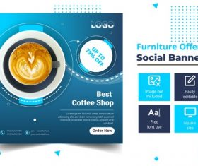 Best coffee shop social banner vector