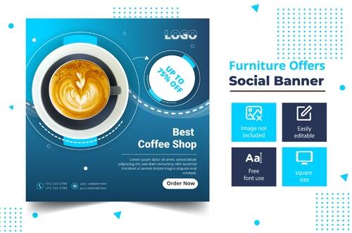 Best coffee shop social banner vector