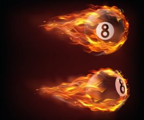 Billiard flying in fire realistic vector
