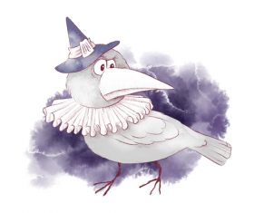 Bird halloween watercolor illustration vector