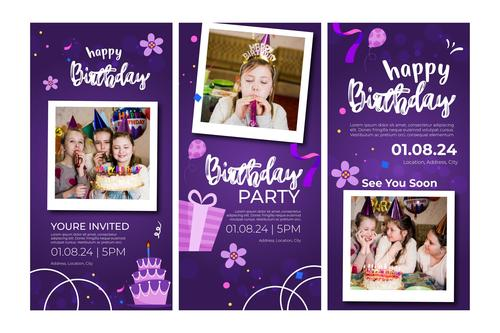 Birthday banner and instagram posts vector