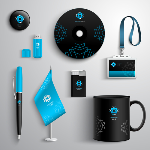 Black and blue business identity design vector