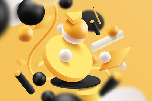 Black background 3D yellow graphic vector