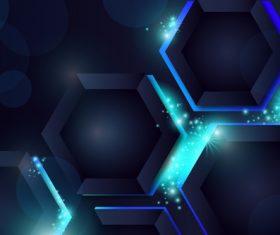 Black background beehive neon background vector