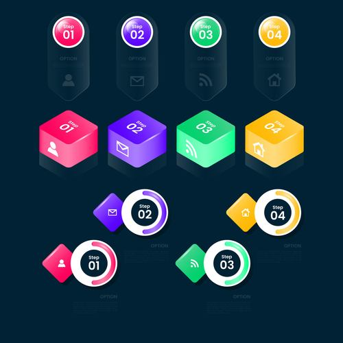 Black background colorful graphics business chart options options vector