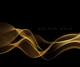 Black background golden wave vector