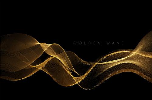 Black background golden wave vector