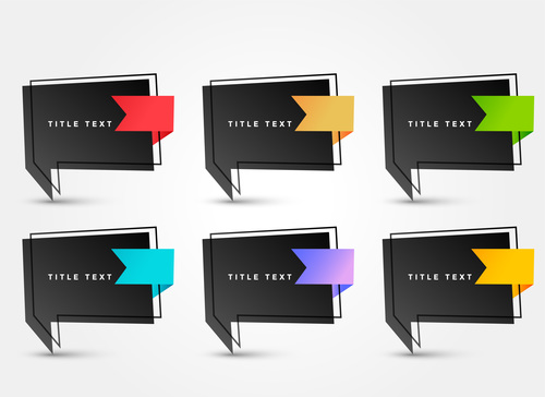 Black background origami chat bubble vector