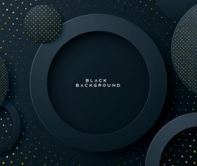 Black gold dots circular abstract background vector