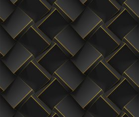 Black square 3D abstract background vector
