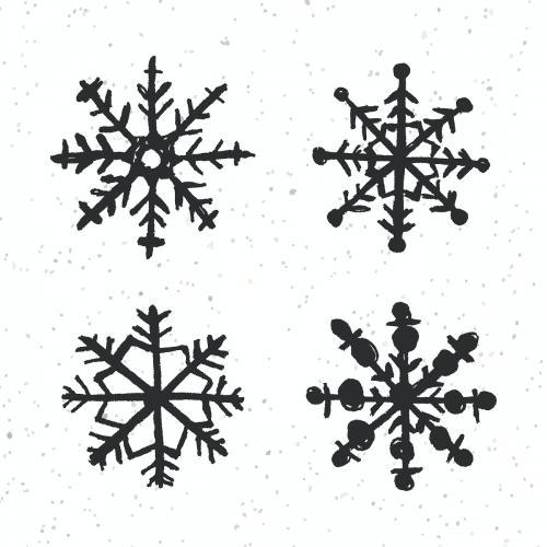 Black winter snowflake vector