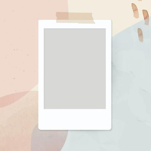Blank instant photo frame on neutral watercolor background vector