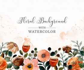 Blooming flower watercolor cover wedding invitation vector