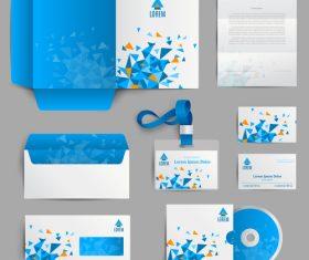 Blue background stationery identity design vector