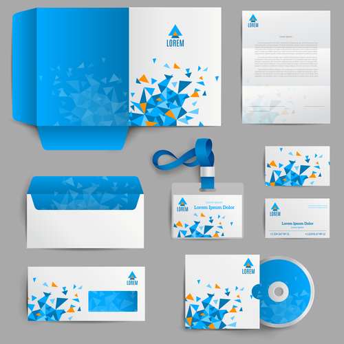 Blue background stationery identity design vector