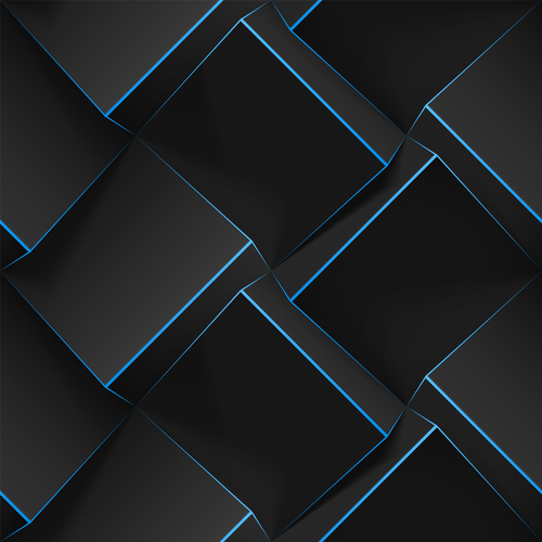 Blue edge black square 3D abstract background vector