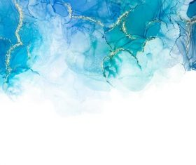 Blue watercolor background with golden foil vector