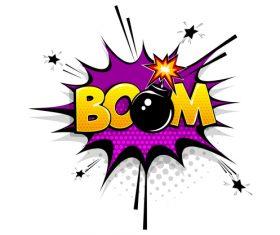 Bomb comic bubble text vector