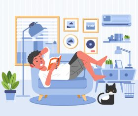 Boy lying on the sofa reading a book cartoon illustration vector