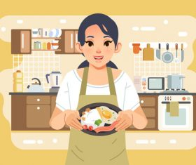 Breakfast cartoon illustration vector