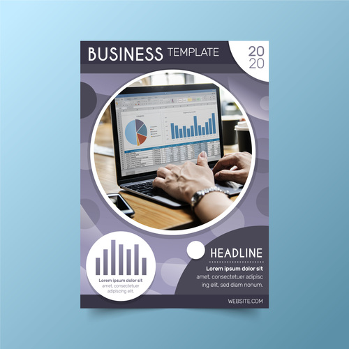 Brochure cover business analysis vector