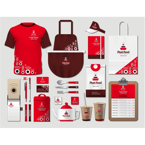 Brown and red coffee shop identity design vector