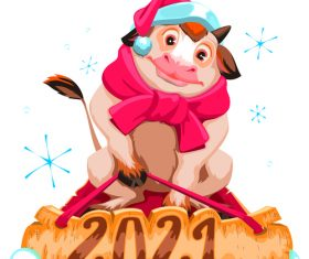 Bull 2021 new year comic vector