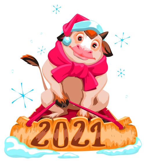 Bull 2021 new year comic vector