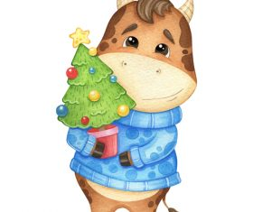 Bull holding a Christmas tree 2021 new year vector