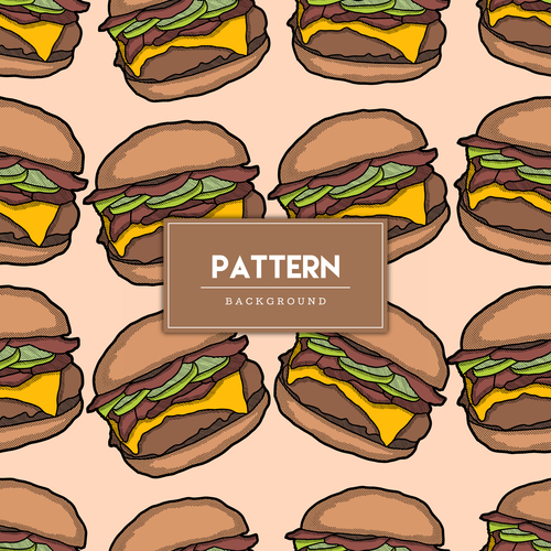 Burger decorative seamless pattern background vector