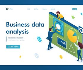 Business data analysis vector 3D concept illustration