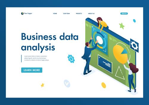 Business data analysis vector 3D concept illustration