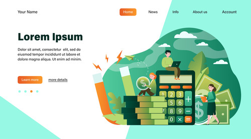 Business investment illustration design landing page vector