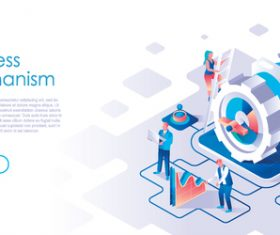Business mechanism isometric template vector