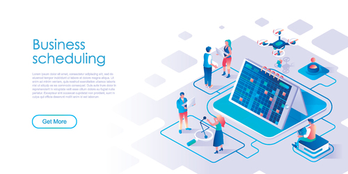 Business scheduling isometric template vector